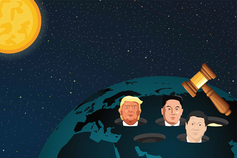 Donald Trump, Kim Jong Un and Xi Jinping